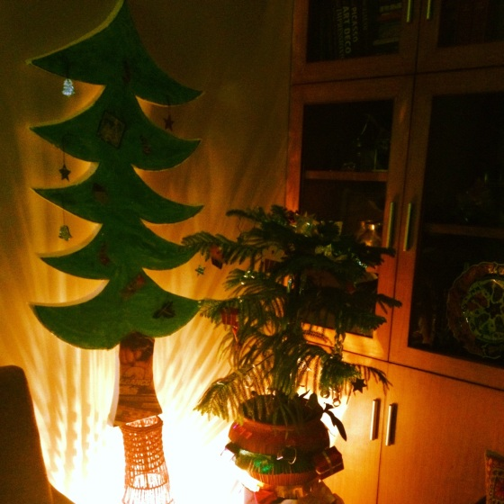 Xmas decor- the Arokaria and the thermocol cut out. Decors were little stars, candy sticks, bells, cup cakes and ribbons