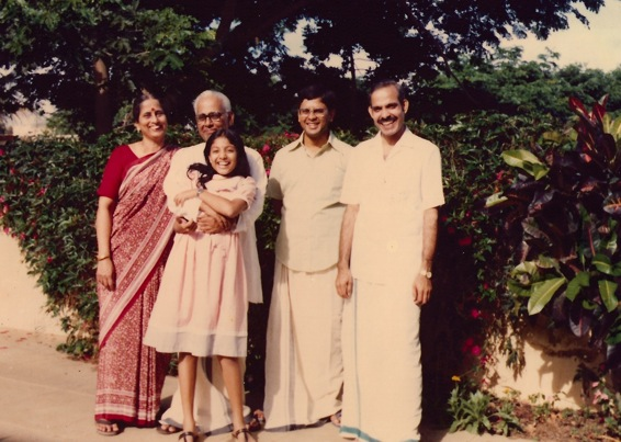 A summer break in Bangalore where my maternal grandparents stayed. Ammma, Vava, me, Ananth mama, Dad. Check out his veshti, this is probably on Diwali day 1986