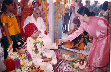 A huge leap in time. Rahul and me etting married in 2001. Circumstances are strange. Dad has just been detected with cancer. His smile remains intact....