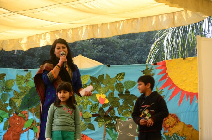 The compering was done by two kindergarten kids with the help of a teacher as a dialogue among them