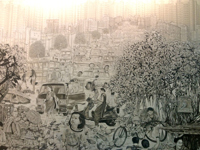Suhasini Kejriwal's enormous pen and ink drawing depicts the teeming vibrancy of urban life. I loved this one!