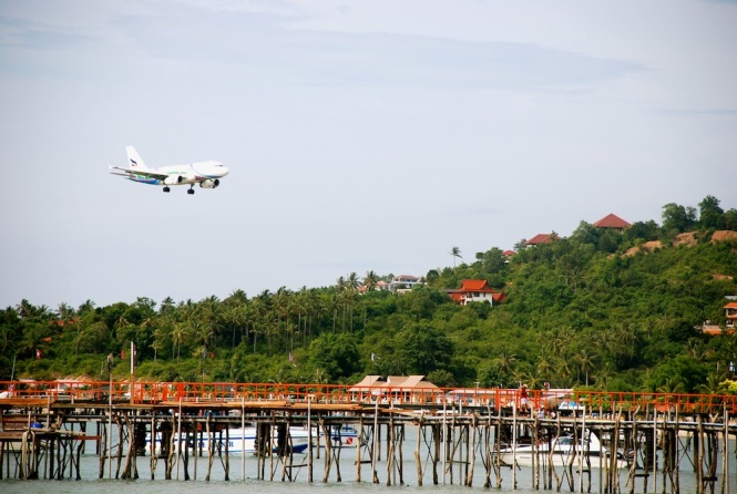 Flight coming in to land at Koh Samui...