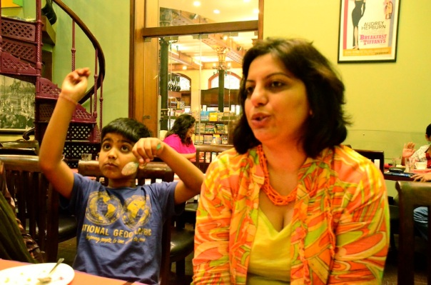 The bookshop seem through the cafe openings...do not ask me what Udai is doing here!