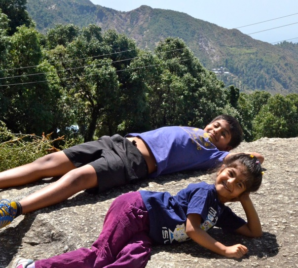 Udai's idea of a little sunbathing break, with Aadyaa happy to join in