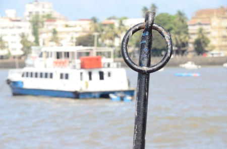 Mumbai, Summer 2013. Pulling away from city magnifique on the ferry to Elephanta Island