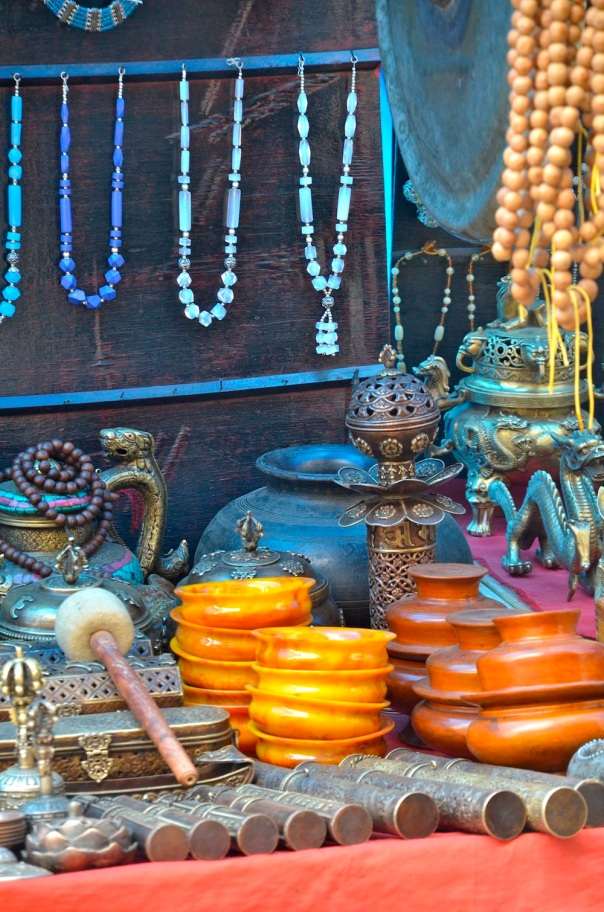 The touristy shops and stalls from which many Tibetan families earn a living in McLeod Ganj