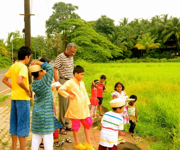 All watching the process of collecting the stalks of rice
