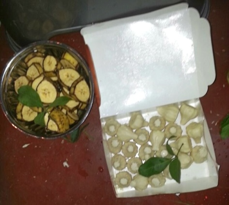 Fruits and modaks for prasad