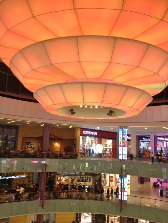 The Dubai mall, next to Burj Khalifa, is the place to be! Absolutely monumental in scale, the spaces are so large that even the most bizarre ceiling fixtures seem to fit right in!