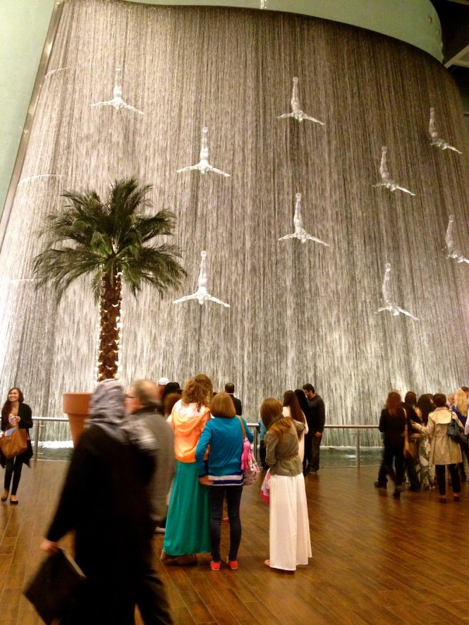 The curtain of water inside the Dubai Mall
