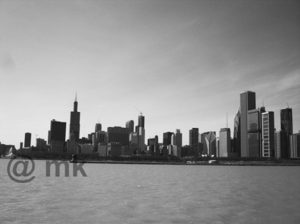 "The Chicago skyline from Lake Michigan ... also know as the ""Windy City"" ... you can see the Sears (now Willis) Tower standing tall on the left side."