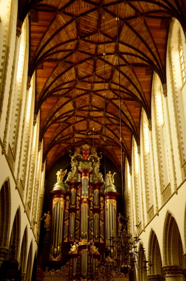 The enormous pipe organ that takes up nearly the entire height of the cathedral, definitely the focus here at St Bavo