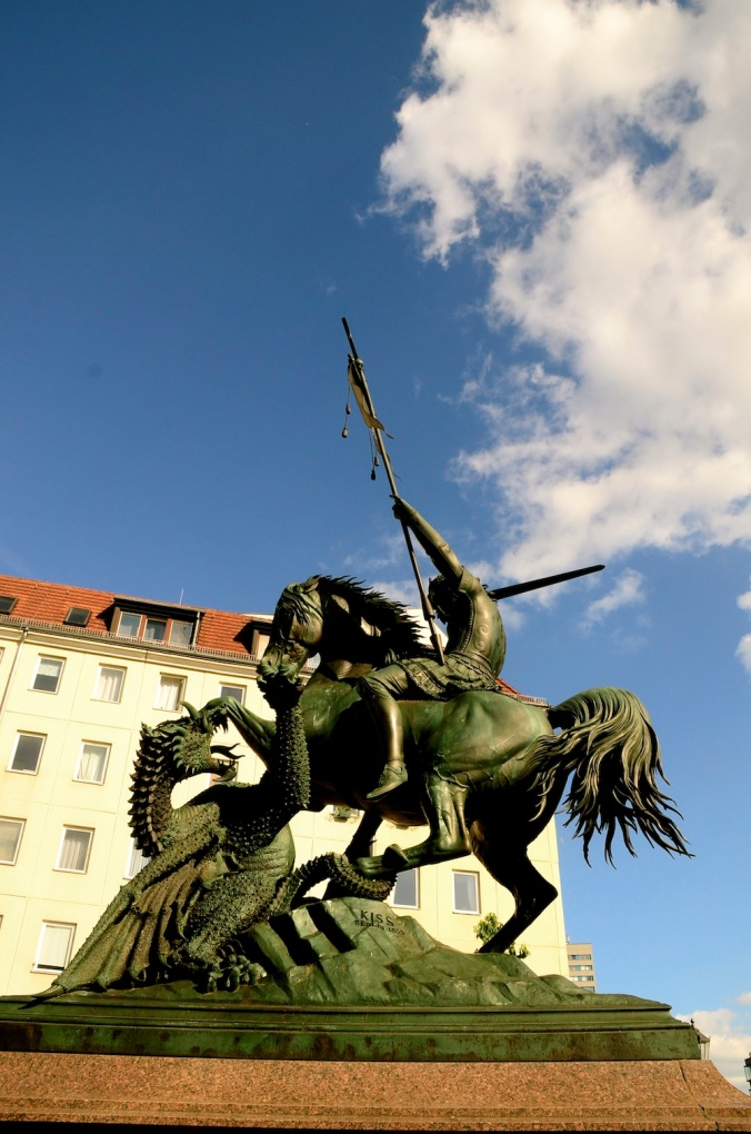 We ate under the shadow of this gorgeous statue of St George slaying the dragon.. The kids were quite fascinated by it!