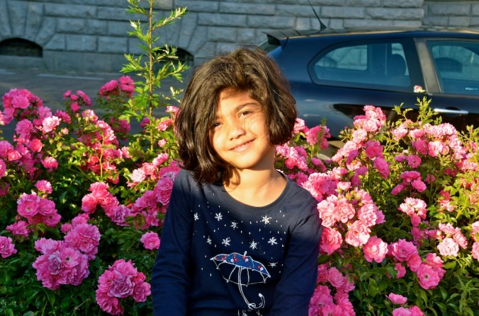 We all find our own interests. While I admired the architecture and sense of history, Aadyaa loved the summer blooms!