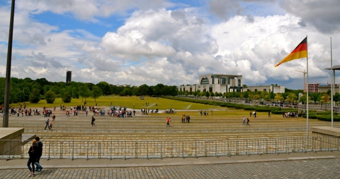 The clouds above made for a dramatic view of the large grounds in front of the Bundestag