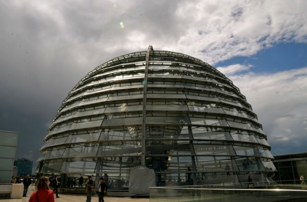 The Dome in its entirety as seen from the terrace ouside. We walked out into sunshine and a rain drenched bright sky!