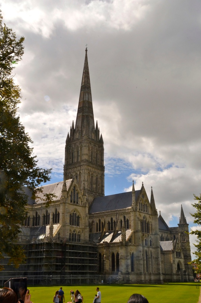 The tall Gothic spire of Salisbury