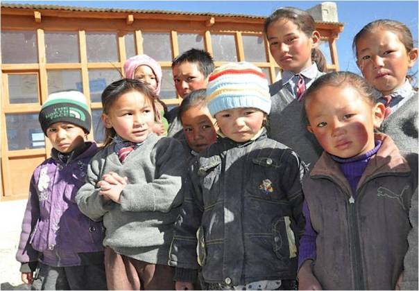 Kids posing at a school in Chushul on the China border