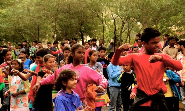 Special movements to 'Reclaim the Streets' are telling us that we need more accessible and vibrant public spaces! Shot at Raahgiri, Gurgaon on 8 March 2014. My daughter joins a Zumba lesson with many other kids from diverse backgrounds