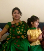 Day 14 #100sareepact This bright green and gold silk was worn for Diwali 2013, when coincidentally Aadyaa also had a green and gold lehenga to match!