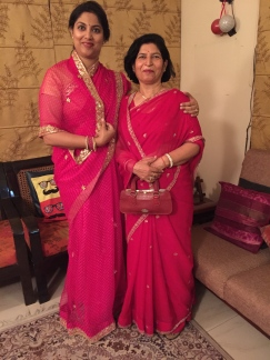 Day 5 ‪#‎100sareepact‬ Posing with Amma in our gorgeous Jaipuri georgettes just before we leave for a family wedding. This classic rani colour saree with gota patti border was bought in Jaipur while shopping for Chitra baisa's wedding. It's an absolute treasure!