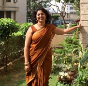 Day 7 #100sareepact Today's saree, a cotton handloom, was gifted to me by Bhargavi Aunty many years ago and has been an office staple all these years. Particularly like the stripes and checks theme and the earthy brown. I've deliberately left the saree unstarched and worn it casually with no safety pins and with handmade accessories- jute earrings from Bengal, tribal beads, lacquer bangles and hand stitched slippers from Gujarat.