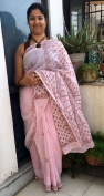 Day 8 #100sareepact a classic baby pink Lucknowi Chikan saree borrowed from my mother in law Radha Rawal whose look of happiness and pride in the morning made my day!