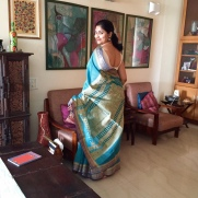 Day 32 ‪#‎100sareepact‬ I fell in love with this saree in a shop in Hazratganj Lucknow where we were picking a lehenga for my wedding reception in the summer of 2001. My to be mothers-in-law (Amma Radha Rawal and Mausi) had just shared the ordeal it is to find something subtle and to my taste and we were elated at our success. I was a bit conscious about prices and budgets. And then I sighted this saree. It was love at first sight! Laughing at my hesitation, Amma bought it for me and it's been a favourite ever since. Lightweight doria cotton with a gorgeous woven palla.