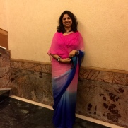 Day 33 #100sareepact Wore this bright yet subtly shaded Jaipuri georgette with Mukaish work to a birthday party today.
