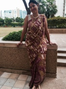 """Day 38 #100sareepact Raided Amma's almirah this morning to pick out a semi-chiffon she bought from Kanpur a few years ago. She labelled it an """"office-type"""" saree and so here I am in a departure from my handlooms. Love her taste for its subtlety and love her enthusiasm for my 'saree pacting'!"""