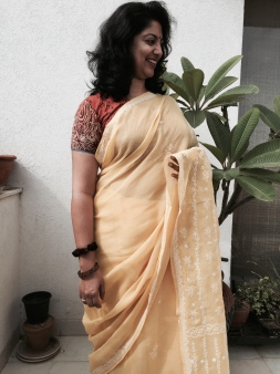 Day 40 ‪#‎100sareepact‬ Am setting off for a conference wrapped in this soft much worn yellow Lucknowi Chikan cotton saree. The saree belonged to Nani, my husband Rahul Singh Rawal's maternal grandmother who was quite the matriarch. Amma inherited it from her and gave it to me lovingly to wear today. There's a particular pleasure in wearing a garment that comes down generations and the simplicity of this classic Chikan, which was probably used as everyday wear, makes it even more special for me. Also draws attention to how well our elders cared for their possessions and how careless many of us are in comparison!