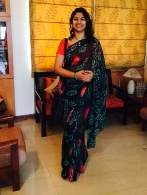Day 42 #100sareepact Getting into the saawan mood with this bottle green bandhej on georgette from mum's wardrobe! The bright colours offer a delightful contrast and I'm thrilled my favourite pendant matches the colours perfectly! A secret aside- I was fascinated by bandhni and bottle green as a teenager after I saw Bhagyashree wear a churidar kurta in this colour and style in Maine Pyar Kiya! I was maybe 14 or 15! I never found that exact shade of fabric but that's the real reason I picked this saree out of mums wardrobe this morning!