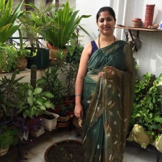 Day 48 ‪#‎100sareepact‬ I'm wearing a bottle green printed chiffon gifted by Rahul Singh Rawal in the early years of our marriage. He brought it back from a work trip to Surat and I remember being surprised and thrilled! So grown up it was, the husband getting me sarees as gifts! I haven't had occasion to wear this simple saree too many times even though I love it's muted colours and leafy print. Thanks to the pact, I'm wearing it now