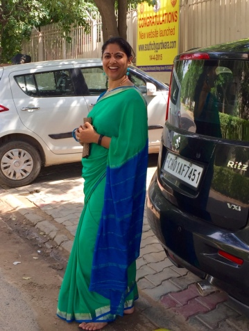 Day 50 ‪#‎100sareepact‬ Wore this bright Mysore crepe to a dear little girl's birthday. She celebrated it in the gurdwara with a paath and langar. A lovely idea from an unusually mature child. Preeti Sood and Deepak Kashyap you are blessed to have Deepika in your life and so are we!I've owned this saree for a long time but haven't worn it a lot. I've been looking out for an occasion to wear this one.