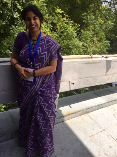 Day 51 #100sareepact Repeating the gorgeous purple batik handloom today to celebrate the halfway mark on the pact. It's becoming my 'conference' saree because it keeps its crease so well, is light and easy to handle. It's also drop dead gorgeoussmile emoticonAnd who doesn't want to be remembered in a crowd?