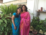 Saree 54 ‪#‎100sareepact‬ Celebrating Raksha Bandhan in a colourful printed crepe silk bought in a tiny shop in a Chandni Chowk gali as we shopped for Chitra Raj baisa's trousseau way back in 2007. Amma Radha Rawal hope you remember this outing!At the fag end of a long session choosing various sarees to give to myriad relatives, we asked the salesman to show us something he thought we would like. This was one of two or three sarees I picked that day and one I've worn it quite a bit. It's comfortable, it's sans bling the way I like it and it sports a fun combination of colours! Combined with a cotton sleeveless blouse and earrings I fell in love with recently at Anokhi.