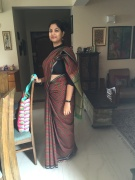 Day 62 #100sareepact Tried a new look today with a high neck blouse and a crisp kancheevaram cotton that belongs to mum. The objective was to achieve a neat perfectly pleated look and keep it intact through a day of meetings. I think I managed! Rahul called it the Bharat Mata look.Was a happy camper in the green environs of Zorba with a bunch of fun people. Mind you, we were engaged in extremely serious work!Also sporting my new Chumbak bag. A happy day indeed