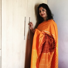 Day 64 #100sareepact हल्दी in Hindi, 'Halad' in Marathi, 'Manjai' in Tamil. The colour of auspiciousness and prosperity in cultures across our wonderful country. Wearing this yellow and maroon checkered Chettinad cotton that belongs to Ma on the occasion of Ganesh Chaturthi gives my otherwise ordinary workday a celebratory feel.I'm missing Goa terribly today. I try to go every year for 'chavath' to celebrate this special festival with cousins, aunts, uncles and elders. My beloved Ajjee is very ill this year and I've avoided the visit, not wanting to celebrate while she is bedridden. She who has been the heart and soul of Ganpati festivities in our ancestral home in St. Cruz, Goa. Yet, I admire the resilience of tradition in this context, that sets up systems for things to go on. Where the young take over from the old and a way of life is preserved. No one is indispensable, but everyone is a welcome part of the celebration. So much to learn from our own culture!