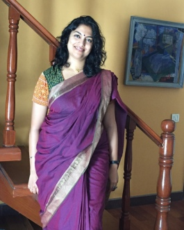 Day 66 ‪#‎100sareepact‬ What better way to get back into the swing of things than wearing a saree! So this morning, in the hope of a more 'normal' day, I picked mum's purple handloom cotton with a simple woven border and subtle vine green stripes. Of course, life has a habit of taking unexpected twists and turns and I was called into Udai's school urgently because he had been hurt and chipped his tooth. Worried and cancelling many important appointments, I rushed to school. Only to have him wave me away (a tad tearfully), saying he wanted to take his test and return home on the schoolbus! Both baffled and impressed, I trooped to work. On the way, I was held up by a procession carrying a dead body to the cremation ground. In that moment, I felt immensely thankful for the gift of a fulfilling normal life and a practical and supportive family. Not to mention the sisterhood of pacters who would understand why wearing a saree has a bearing on my state of mind!